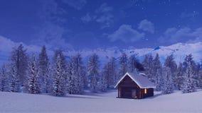 Cabine de rondin solitaire haute en montagnes la nuit hiver illustration stock
