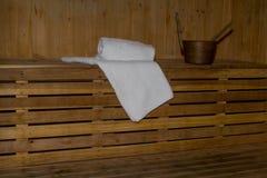 Cabine de sauna à l'intérieur images libres de droits