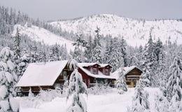 Cabine in de Sneeuw royalty-vrije stock foto