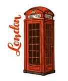 Cabine de téléphone rouge de Londres Illustration de vecteur d'isolement sur le fond blanc illustration stock
