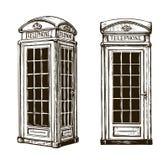 Cabine de téléphone tirée par la main de Londres Illustration de vecteur de croquis illustration libre de droits