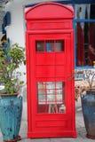 A cabine de telefone vermelha Fotografia de Stock