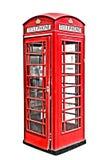 Cabine de telefone vermelha britânica clássica em Londres Reino Unido, isolada no branco, hdr imagens de stock