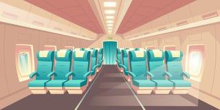 Cabine de vecteur d'avion Sièges de classe d'Econom illustration de vecteur