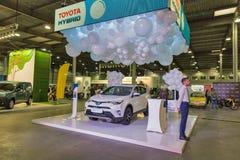 Cabine de voiture hybride de Toyota sur l'exposition 2017 embrochable de Kiev Ukraine Photographie stock libre de droits