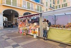 Cabine del mercato di sindaco Christmas della plaza Fotografia Stock