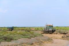 Cabine dell'ostrica dal pescatore fotografia stock