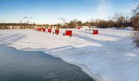 Cabine della pesca sul ghiaccio Fotografia Stock Libera da Diritti