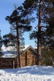 Cabine do inverno fotografia de stock