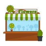 A cabine do vendedor de flores ou do vetor de madeira do suporte do mercado da flor o projeto liso isolaram o ícone ilustração do vetor