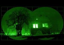 Cabine durante a noite com a visão noturna Imagem de Stock