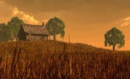 Cabine e campo sob céus vermelhos ilustração stock