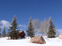 Cabine encadernada da neve na paisagem do inverno imagem de stock