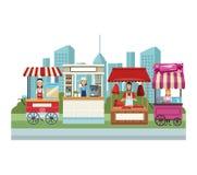 Cabine et boutiques de nourriture illustration stock