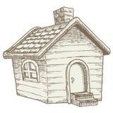 Cabine in het hout: gezellig ouderwets houten buitenhuis Stock Foto's
