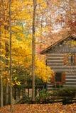 Cabine in het hout met de herfst Royalty-vrije Stock Afbeeldingen