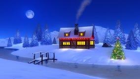 Cabine iluminada na montanha na noite de Natal Imagens de Stock