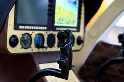 Cabine interna do helicóptero imagem de stock