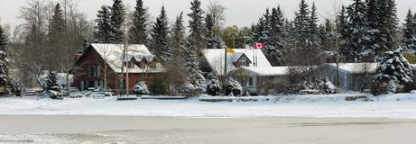 Cabine in inverno Fotografie Stock Libere da Diritti