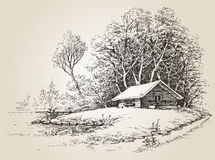 Cabine nas madeiras ilustração do vetor