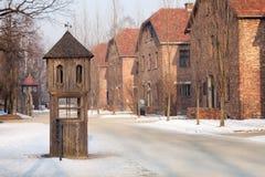 Cabine onde os SS equipam o responsável para conduzir a chamada e recolher relatórios em Auschwitz fotografia de stock