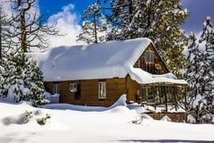 Cabine remota com elevação empilhada neve no telhado foto de stock