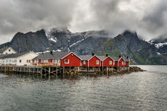 Cabine rosse di pesca in Hamnoy, Norvegia Fotografie Stock