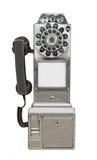 Cabine téléphonique publique de vintage d'isolement Photographie stock libre de droits