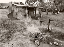 Cabine velha Austrália preto e branco Foto de Stock
