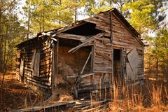 Cabine velha nas madeiras Foto de Stock