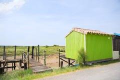 Cabine verde dell'ostrica dal pescatore Immagini Stock Libere da Diritti