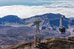 Cabinekabelbaan op het Eiland Tenerife voor het stijgen en desc Stock Afbeelding