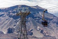 Cabinekabelwagen aan het observatiedek van de vulkaan Teide  Royalty-vrije Stock Foto's