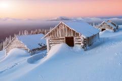 Cabines abandonadas, inverno Fotografia de Stock Royalty Free