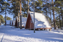 Cabines de acampamento em Fredriksten Fotografia de Stock