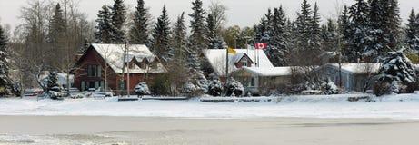 Cabines in de Winter royalty-vrije stock foto's