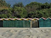 Cabines op het strand stock foto