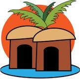 Cabines sous un palmtree Photos libres de droits