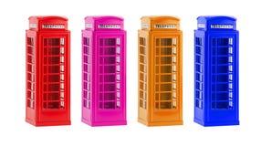 Cabines téléphoniques colorées de Londres (souvenir) sur le fond blanc Photos libres de droits