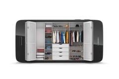 Cabinet avec l'habillement dans le smartphone Image libre de droits