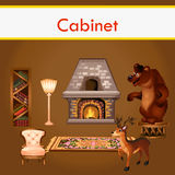 Cabinet with books, fireplace and stuffed animals Stock Photos