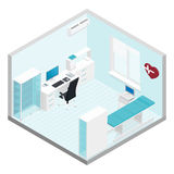 Cabinet cardiologist isometric room set Royalty Free Stock Photo