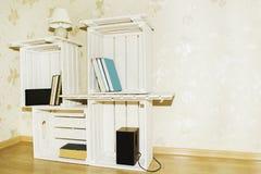 Cabinet créatif des caisses en bois photos stock