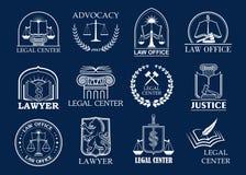 Cabinet d'avocats, centre juridique et ensemble d'insigne de bureau d'avocat illustration libre de droits