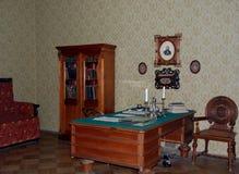 Cabinet dans l'appartement-musée du grand auteur russe Fyodor Dostoevsky Photographie stock libre de droits