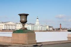 Cabinet de curiosités et pont de palais en hiver Photo stock