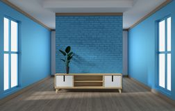 Cabinet design, modern living room with blue brick wall on white wooden floor. 3d rendering. Mock up cabinet design, modern living room with blue brick wall on royalty free illustration
