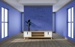 Cabinet design, modern living room with purple brick wall on white wooden floor. 3d rendering. Mock up cabinet design, modern living room with purple brick wall royalty free illustration