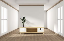 Cabinet design, modern living room with white wall on white wooden floor. 3d rendering. Mock up cabinet design, modern living room with white wall on white royalty free illustration