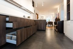 Contemporary kitchen interior stock image